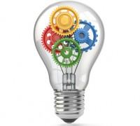 Light bulb and gears. Perpetuum mobile idea concept.